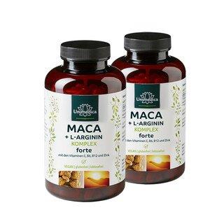 Lot de 2: Complexe  Maca + L-arginine forte avec vitamines C, B6, B12 et zinc - dosage élevé - 480 gélules - Unimedica/