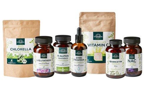7er-Sparset: Glutathion, NAC, Quercetin, Vitamin C Acerola Plus , Chlorella, Zink Tropfen, R-Alpha-Liponsäure/